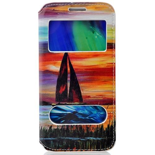 CoverZone Samsung Galaxy E5 Kılıf Kapaklı Resimli Pencereli Yelken