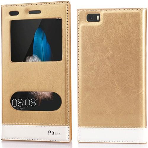 CoverZone Huawei P8 Lite Kılıf Çift Pencereli Deri Mıknatsılı Altın