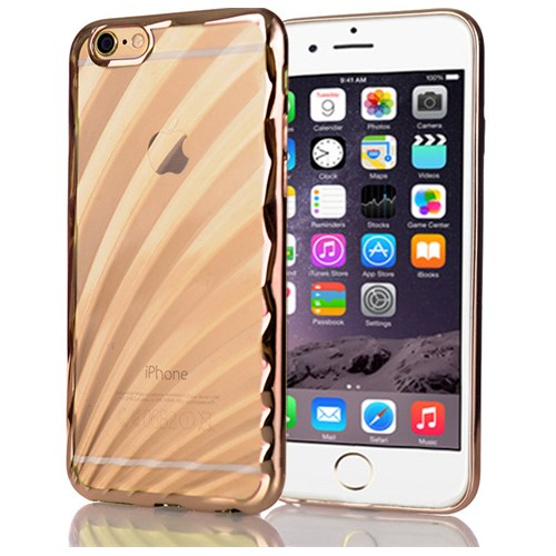 CoverZone İphone 6 Plus 6S Plus Kılıf Metalize Kenar Silikon Gold