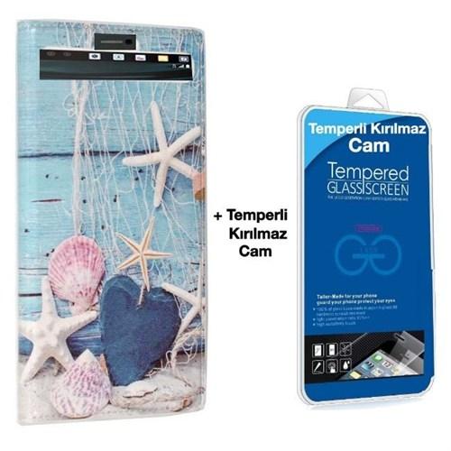 Teleplus Lg V10 Desenli Pencereli Kılıf Deniz + Kırılmaz Cam