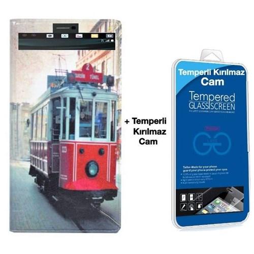 Teleplus Lg V10 Desenli Pencereli Kılıf Taksim + Kırılmaz Cam