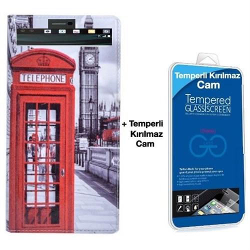 Teleplus Lg V10 Desenli Pencereli Kılıf Telefon + Kırılmaz Cam