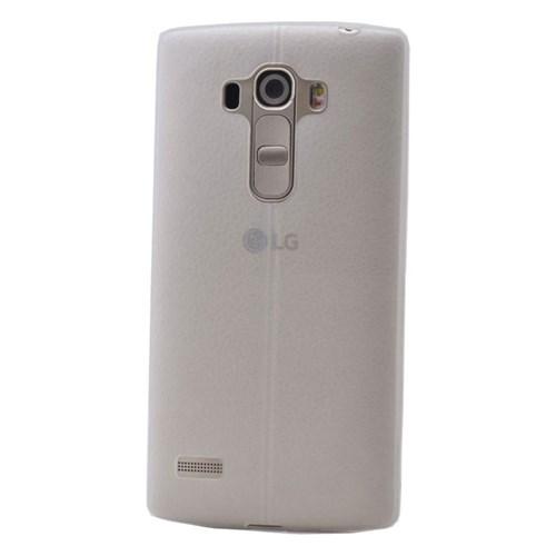 Teleplus Lg G4 Beat Deri Görünümlü Silikon Kılıf Beyaz