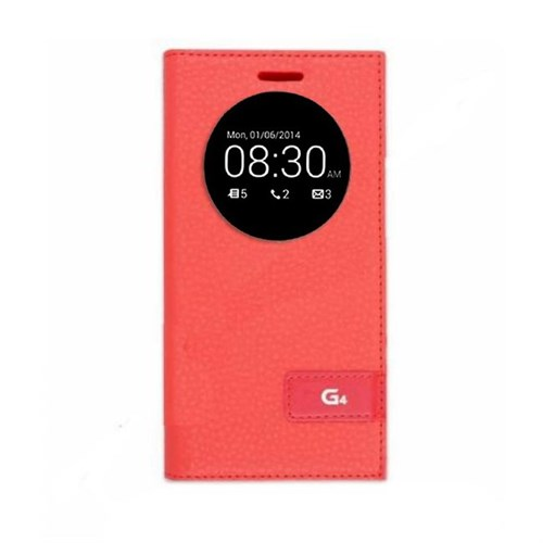 Teleplus Lg G4 Pencereli Kılıf Uyku Modlu Kırmızı