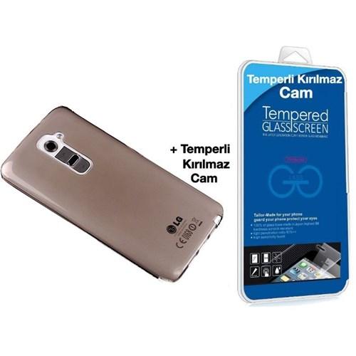 Teleplus Lg G2 Mini Silikon Kılıf Siyah + Kırılmaz Cam