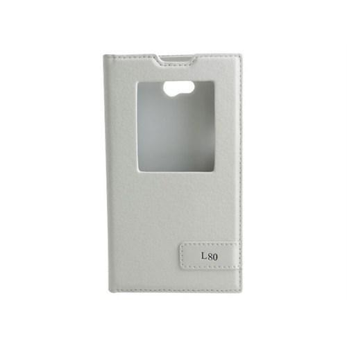 Teleplus Lg L80 Pencereli Uyku Modlu Kılıf Beyaz