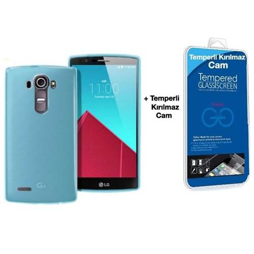 Teleplus Lg G4c Silikon Kılıf Mavi + Kırılmaz Cam