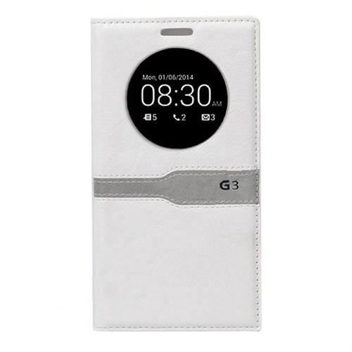 Teleplus Lg G3 Yeni Uyku Modlu Pencereli Kılıf Beyaz