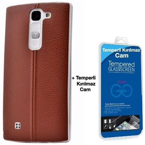 Teleplus Lg G4c Dikişli Silikon Kılıf Kahve + Kırılmaz Cam