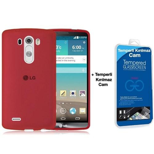 Teleplus Lg G3 Mini & Beat Silikon Kılıf Kırmızı + Kırılmaz Cam