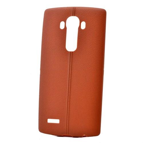 Teleplus Lg G4 Deri Görünümlü Silikon Kılıf Kahve