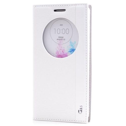 Teleplus Lg G3 Beat Magnum Seri Pencereli Uyku Modlu Kılıf Beyaz