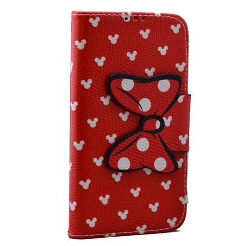 Teleplus Lg L70 Micky Desenli Cüzdanlı Kılıf Kırmızı
