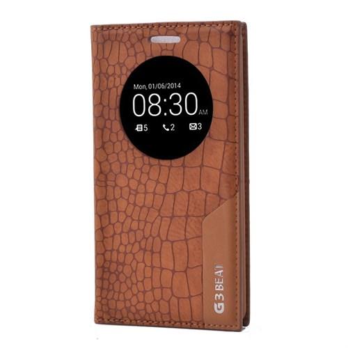 Teleplus Lg G3 Beat Pencereli Uyku Modlu Mıknatıslı Kılıf Açık Kahve