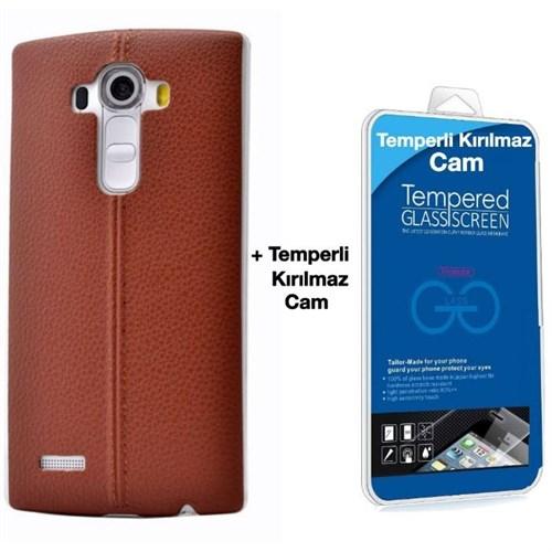 Teleplus Lg G4 Stylus Dikişli Silikon Kılıf Kahve + Kırılmaz Cam