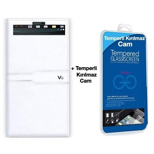 Teleplus Lg V10 Özel Pencereli Kılıf Beyaz + Kırılmaz Cam