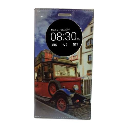 Teleplus Lg G4 Stylus Pencereli Desenli Kılıf Kırmızı Otobüs