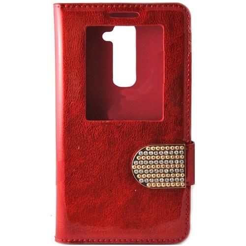 Teleplus Lg G2 Taşlı Pencereli Kılıf Kırmızı