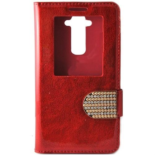 Teleplus Lg G3 Taşlı Pencereli Kılıf Kırmızı