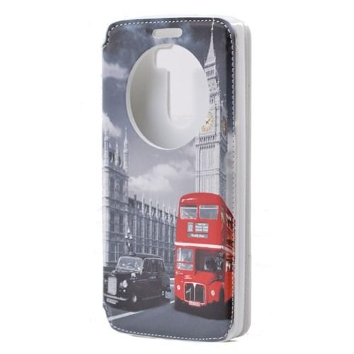 Teleplus Lg G3 Pencereli Uyku Modlu Kılıf Kırmızı Otobüs Desenli