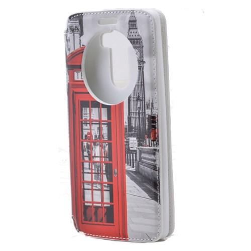 Teleplus Lg G3 Pencereli Uyku Modlu Kılıf Telefon Kulube Desenli