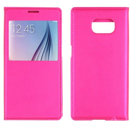 CaseCrown Samsung Galaxy S7 Pencereli Flip Cover Kılıf Pembe
