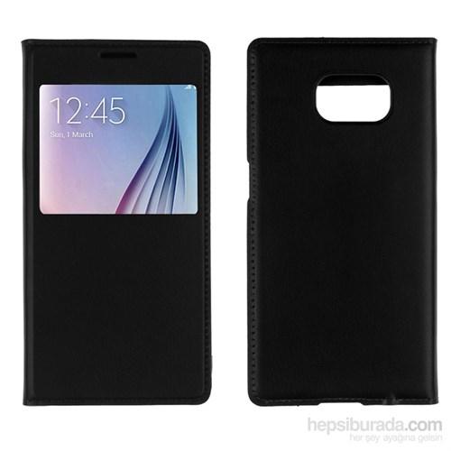 CaseCrown Samsung Galaxy S7 Edge Pencereli Flip Cover Kılıf Siyah