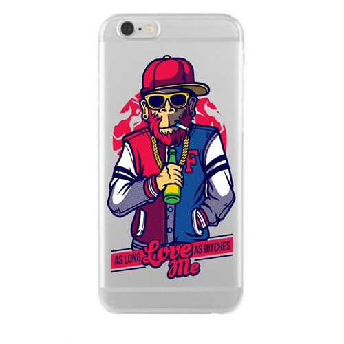 Remeto iPhone 6/6S Şeffaf Silikon Resimli Harlemli Rapçi Maymun