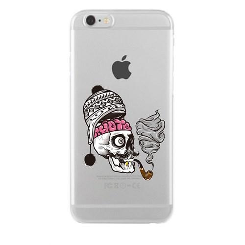 Remeto iPhone 6/6S Plus Şeffaf Silikon Resimli Pipolu Kurukafa