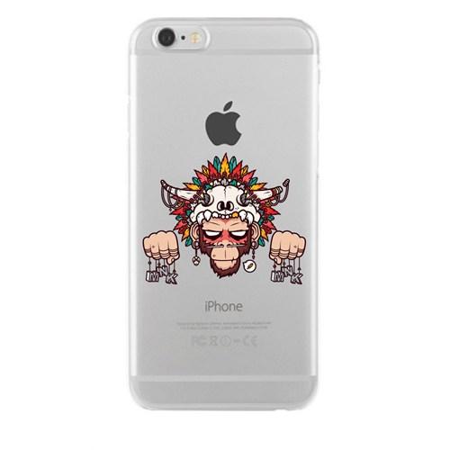 Remeto iPhone 6/6S Plus Şeffaf Silikon Resimli Kızılderili Maymun