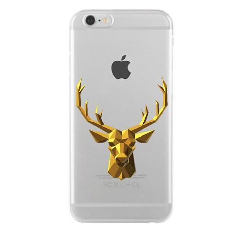 Remeto iPhone 6/6S Plus Şeffaf Silikon Resimli Zırhlı Sarı Geyik