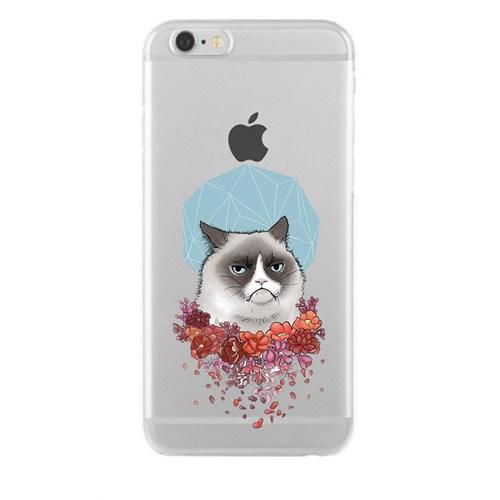 Remeto iPhone 6/6S Şeffaf Silikon Resimli Asabi Kedi