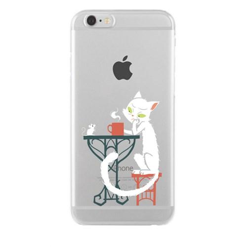 Remeto iPhone 6/6S Şeffaf Silikon Resimli Efkarlı Kedi