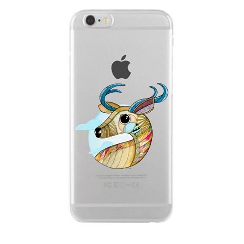 Remeto iPhone 6/6S Portre Geyik Apple Şeffaf Silikon Resimli Kılıf