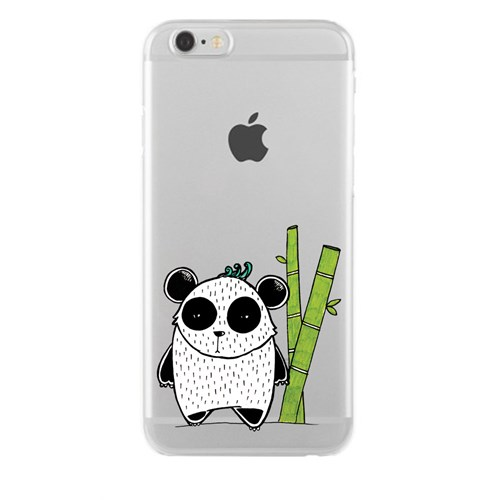 Remeto iPhone 6/6S Şeffaf Silikon Resimli Bambulu Panda