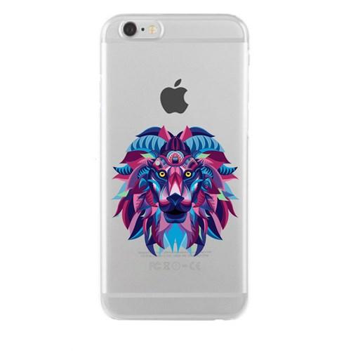 Remeto iPhone 6/6S Şeffaf Silikon Resimli Aslan Başı