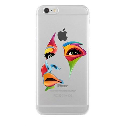 Remeto iPhone 6/6S Renkli Yüz Şeffaf Silikon Resimli Kılıf