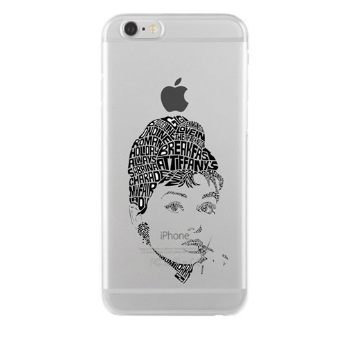 Remeto iPhone 6/6S Audrey Hepburn Apple Şeffaf Silikon Resimli Kılıf