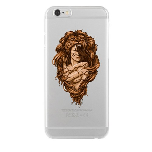 Remeto iPhone 6/6S Aslan Başlı Kadın Apple Şeffaf Silikon Resimli Kılıf