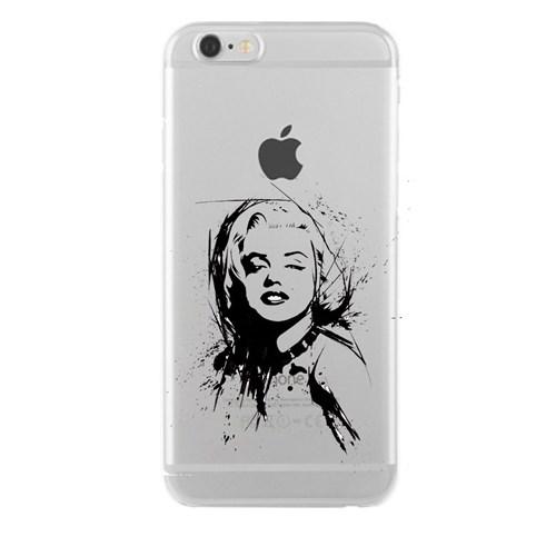 Remeto iPhone 6/6S Plus Marilyn Monroe Apple Şeffaf Silikon Resimli Kılıf