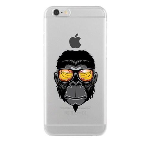 Remeto iPhone 6/6S Plus Cool Maymun Apple Şeffaf Silikon Resimli Kılıf