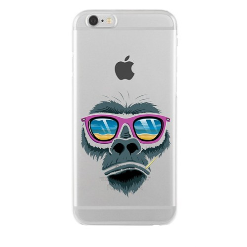 Remeto iPhone 6/6S Plus Relax Goril Apple Şeffaf Silikon Resimli Kılıf