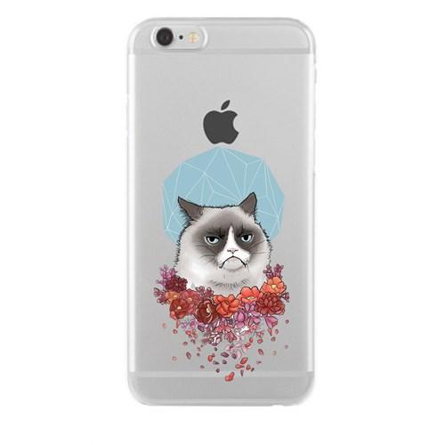 Remeto iPhone 6/6S Plus Şeffaf Silikon Resimli Asabi Kedi