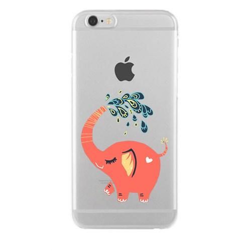 Remeto iPhone 6/6S Plus Neşeli Fil Apple Şeffaf Silikon Resimli Kılıf