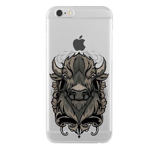 Remeto iPhone 6/6S Plus Boğa Büstü Apple Şeffaf Silikon Resimli Kılıf