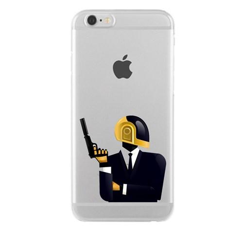 Remeto iPhone 6/6S Plus Daft Punk Apple Şeffaf Silikon Resimli Kılıf