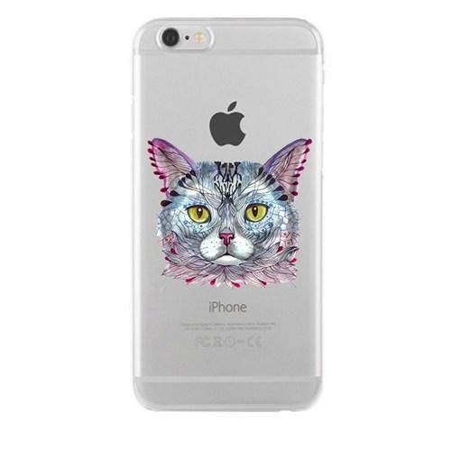 Remeto iPhone 6/6S Plus Kedi Kafa Apple Şeffaf Silikon Resimli Kılıf