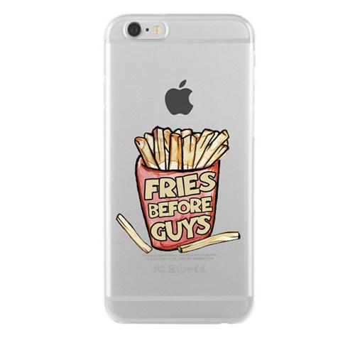 Remeto iPhone 4/4S Fries Before Guys Apple Şeffaf Silikon Resimli Kılıf
