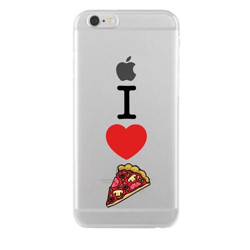 Remeto iPhone 4/4S I Love Pizza Apple Şeffaf Silikon Resimli Kılıf