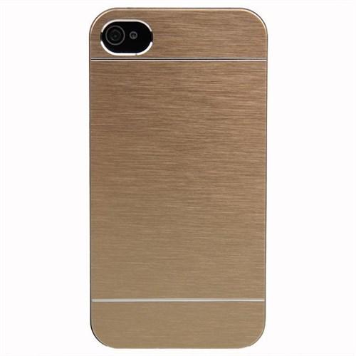 KılıfShop Apple İphone 4S Metal Kılıf Gold